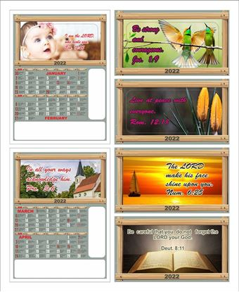 C1006 6 Sheeter Bi-Monthly  Front Side Only Tamil Christian Calendars printing 2022